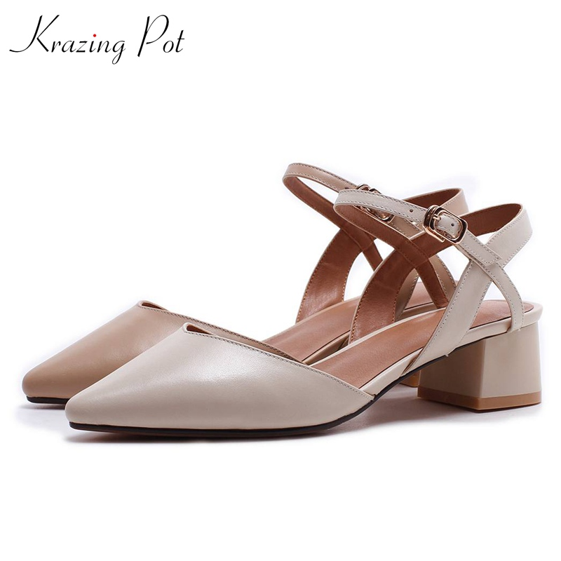 krazing Pot 2018 genuine leather summer women pumps 4 cm med heels European designer pointed toe shallow office lady shoes L69 krazing pot sheep suede summer elastic band thin med heels beading pointed toe slip on women sexy office lady pumps shoes l96