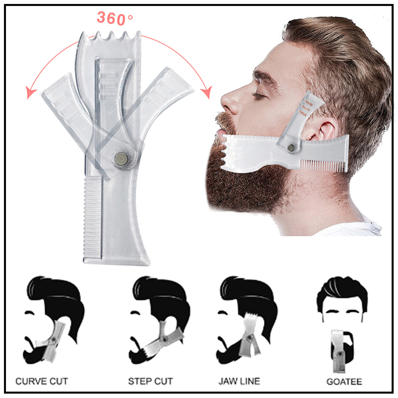 New Innovative Design For Line Up Beard Shaping Tool Trimming Shaper Template Guide For Shaving Or Stencil With Full-Size Comb