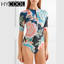 2017 Print Floral One Piece Swimsuit With Sleeve Swimwear Women Bathing Suit Retro Swimsuit Vintage One-piece Surfing Swim Suits