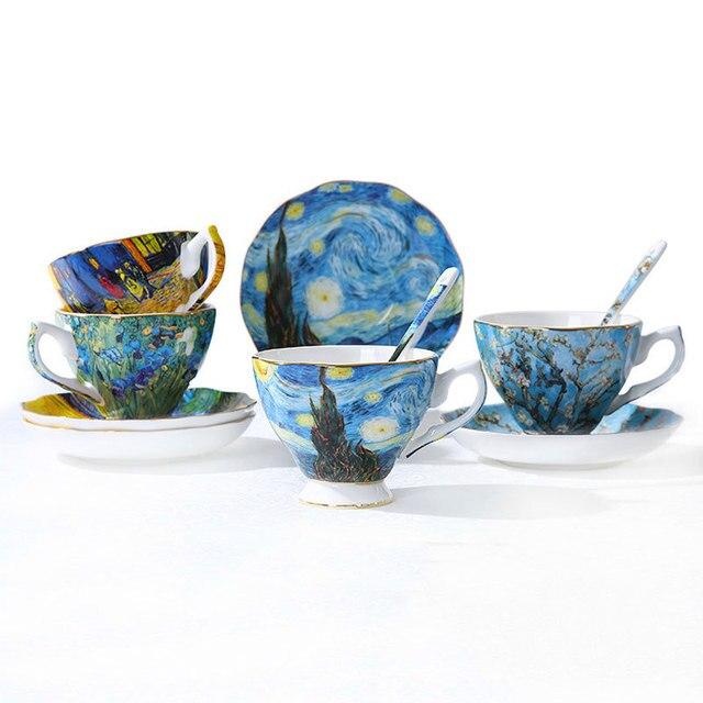 Van Gogh słynny obraz na płótnie Art Bone China kubek kawy herbata Sower IRIS morela słonecznik gwiaździsta noc kawiarnia filiżanka herbaty spodek zestaw