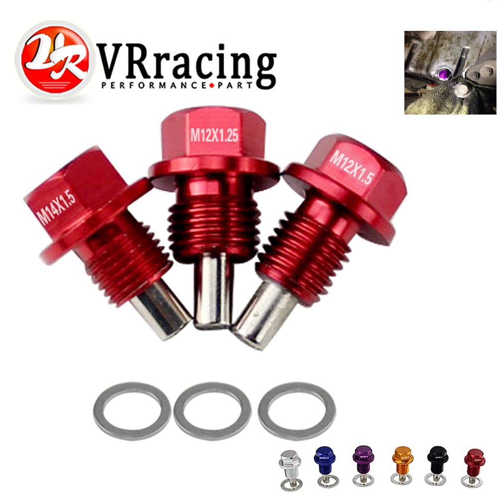 VR RACING - M12x1.5 M12x1.25 M14x1.5 Magnetic Oil Drain Plug &Oil Drain Sump Nut (A Lot Of Colors Available) ODP12125/1215/1415