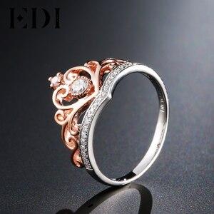 Image 2 - EDI קלאסי כתר אמיתי טבעי יהלומי חתונת טבעות לנשים 14k 585 רוז זהב לבן אירוסין להקות תכשיטים