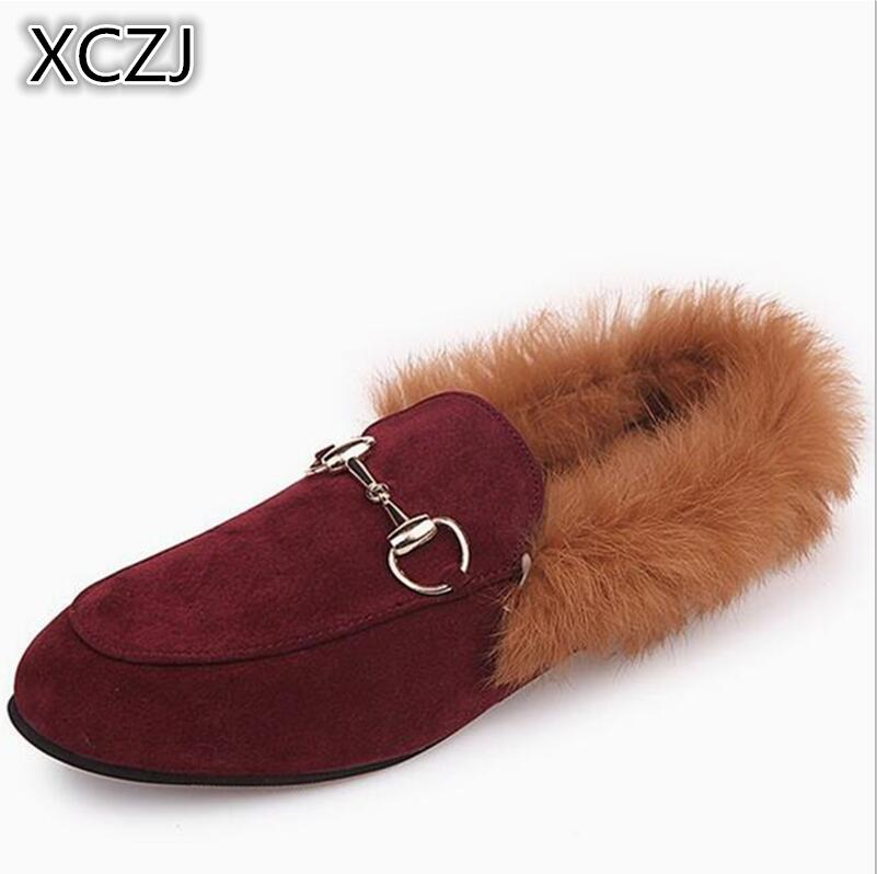 Real rabbit hair Baotou slippers flat shoes Europe and the United States new shoes plush shoes half slippers a lazy slip A50