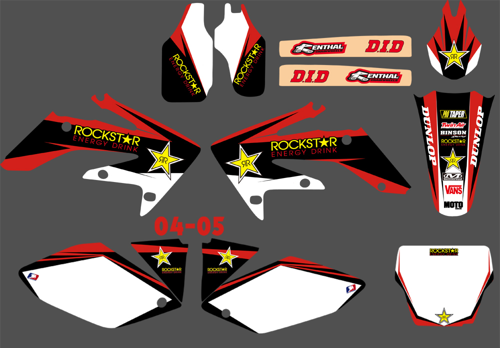 Motorcycle Sticker Decal Graphic With Backgrounds For Honda CRF250 CRF250R 2004 2005 2006 2007 2008 2009 CRF 250 250R for honda crf 250r 450r 2004 2006 crf 250x 450x 2004 2015 red motorcycle dirt bike off road cnc pivot brake clutch lever