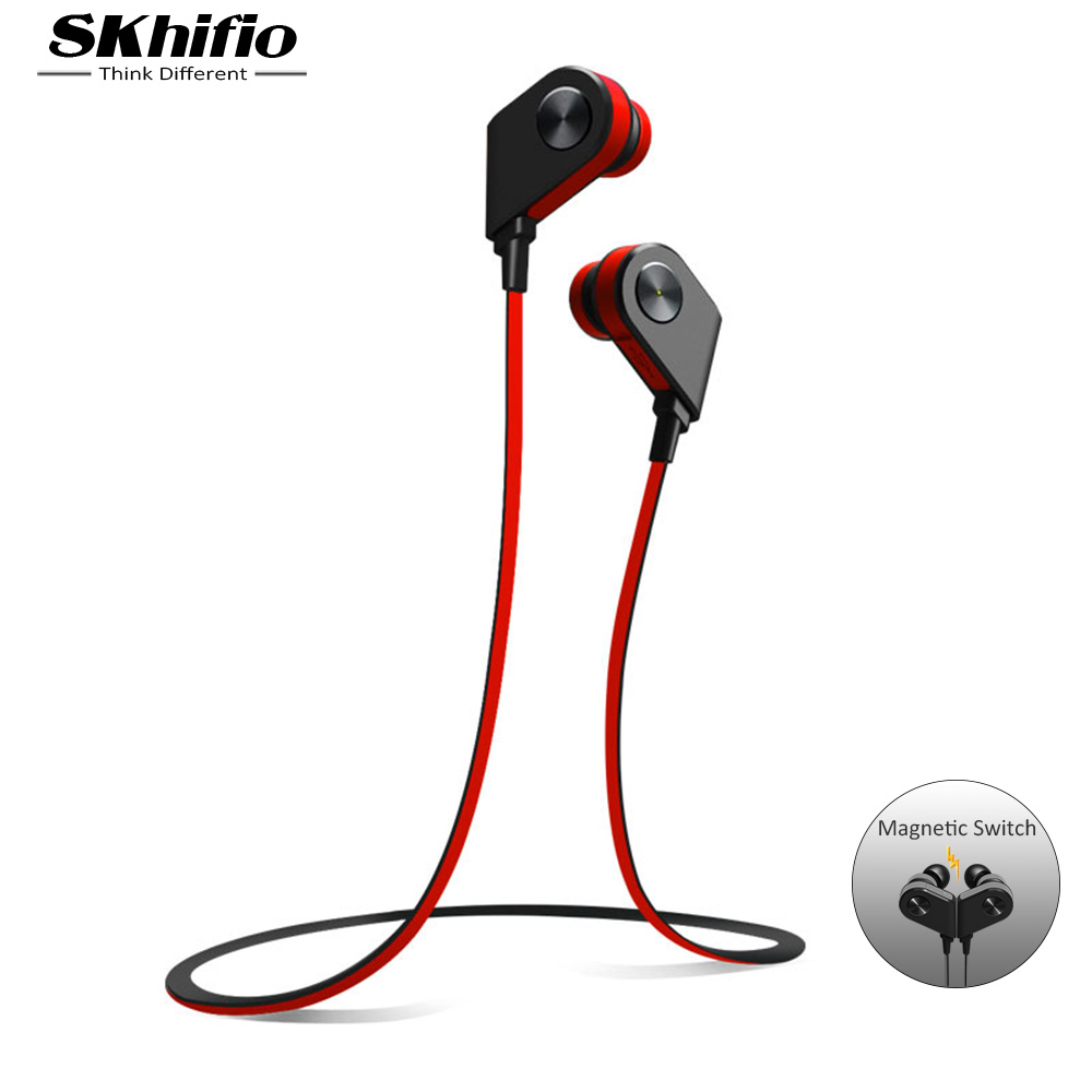 SKhifio Bluetooth Earphone Wireless Headphone with Mic Stereo in-ear Sport Headset Earbuds Music Earphones for Phone iPhone 3 5mm in ear cloth wire headset earphone music headphone without mic for mp3 iphone samsung mobile phone watch moive for mp4