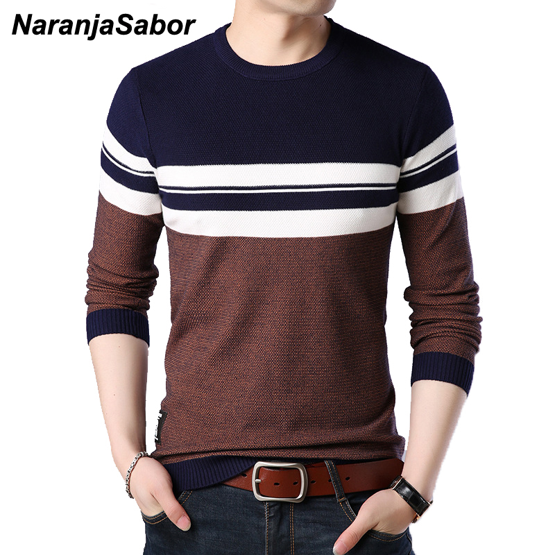 NaranjaSabor Mens Pullover Autumn Wool Slim Fit Knitted Sweater O-Neck Striped Mens Brand Clothing Casual Pull Homme 4XL N517