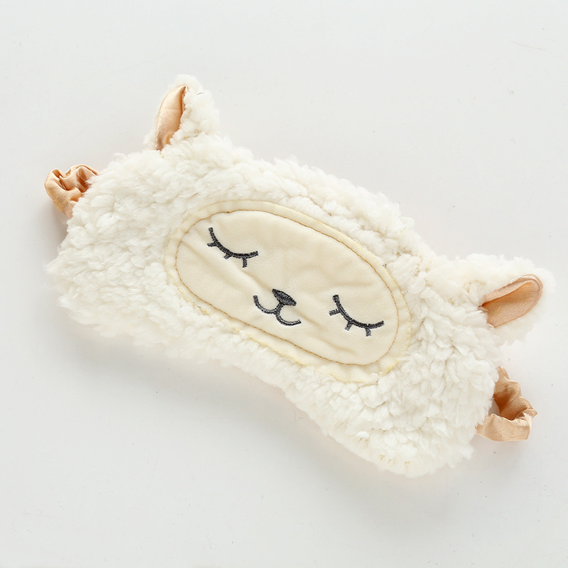 Cute Little Wool Fluffy Plush Novelty Sleep Eye Mask Plush Eye Cover Sleeping Mask Cartoon Travel Blindfold Sleep Aid Eyepatch N