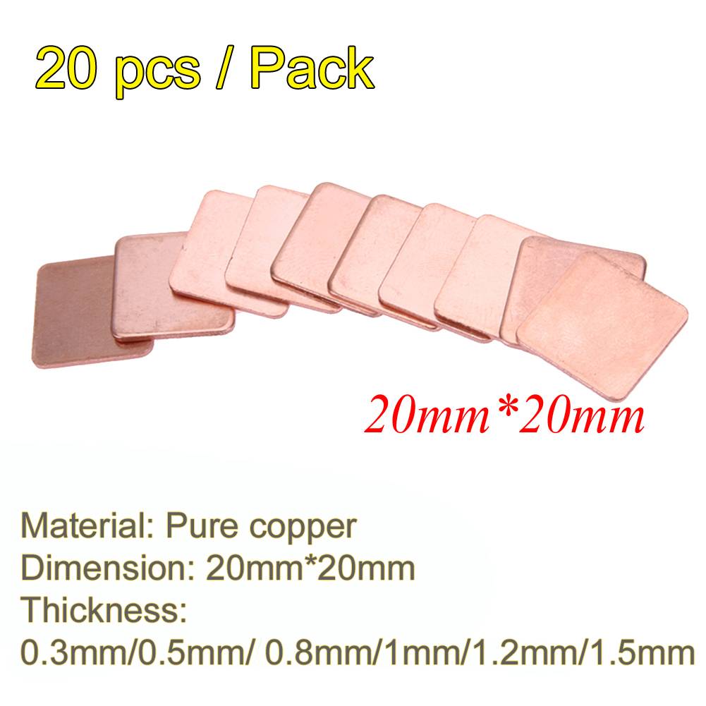 все цены на Hot Sale 20pcs 20mmx20mm 0.5mm//0.8mm/1mm/1.2mm/1.5mm Heatsink Copper Shim Thermal Pads for Laptop CPU GPU Heatsink