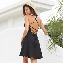 WPCZQVZA 2019 Sexy Low-cut Straps Open Back Wavy Black Dress Beach Vacation Sexy Plus Size Dress Fashion Charming Summer Dress criss back low cut printed cami dress