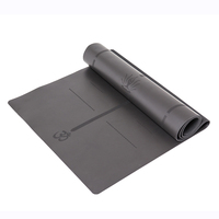 Foldable Natural Rubber Bottom Leather Surface Yoga Mat Eco Friendly Slip Resistant Yoga Mat for Fitness Gym Elephent With Bag