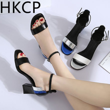 HKCP Korean version 2019 high heel sandal female student bare toe thick with matching color one word buckle belt C142