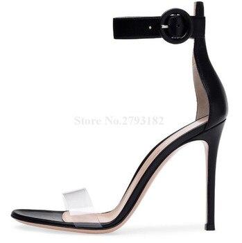 New Fashion Women Open Toe White Black PVC Stiletto Heel Sandals One Transparent Strap High Heel Sandals Formal Dress Shoes