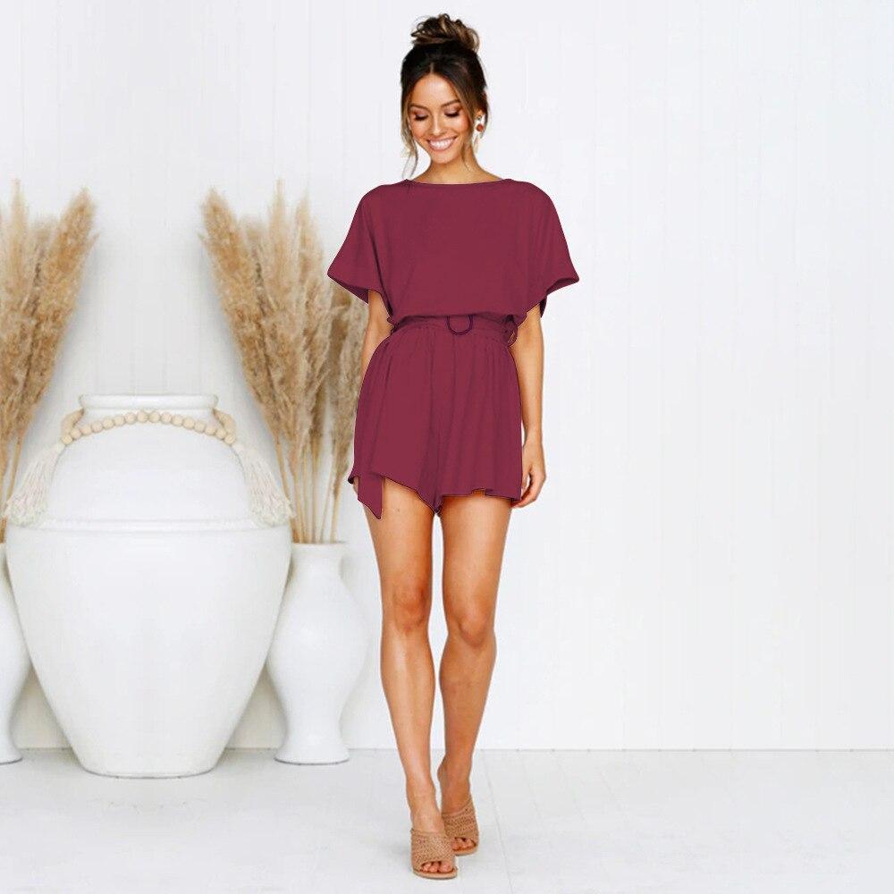 2019 Casual Women Playsuits Solid Office Lady Women Jumpsuits Summer Beach Wear Loose Femme Rompers Plus Size Women Bodysuits