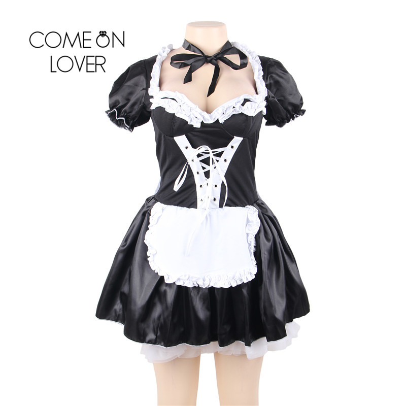 Comeonlover Halloween Satin French Maid Adult Uniform Fancy Dress Costume Plus Size Bavarian Dress Exotic Sexy Kostuum CI80704