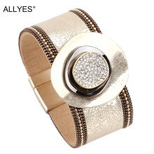 ALLYES Leather Bracelets for Women 2019 Crystal Trendy Gold Color Metal Charm Wide Cuff Bracelet Jewelry