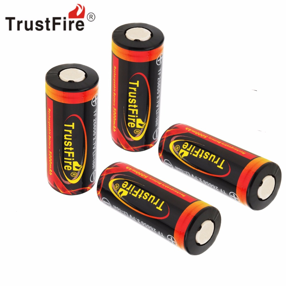 4pcs TrustFire 3.7V 26650 5000mAh Li-ion Rechargeable Battery Bateria with Protected <font><b>PCB</b></font> for LED Flashlights Headlamps image