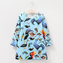 Toddler Kids Baby Girls Cartoon Birds Clothes Long Sleeve Party flower girl dresses Princess Dresses W625