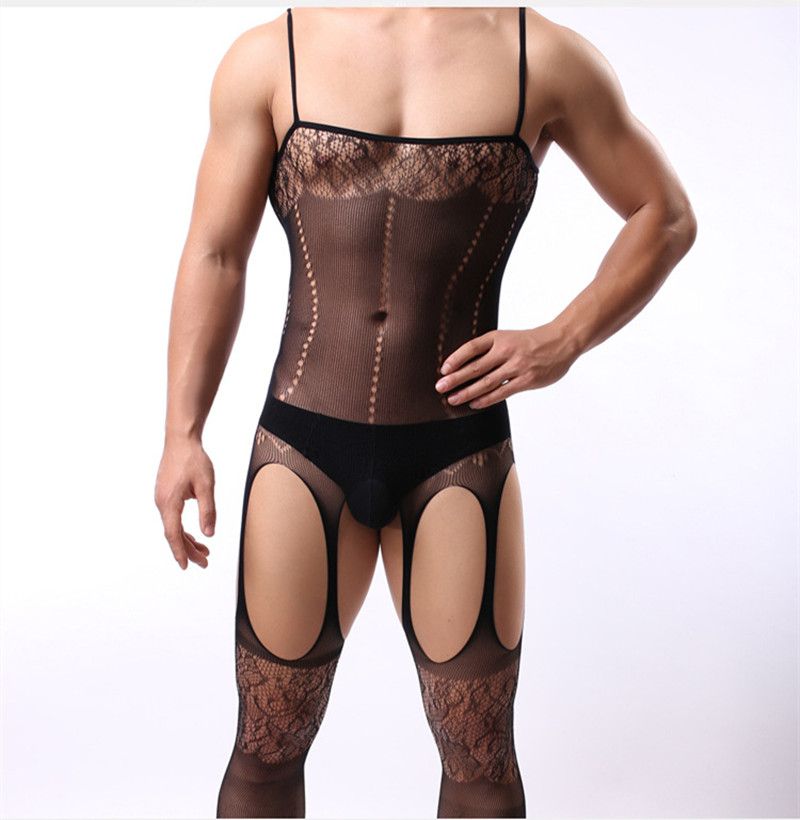 Crotchless Lingerie Catsuit Intimates Bodystocking Latex Male Erotik Black Man Fantezi