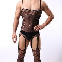Мужское сексуальное нижнее белье, облегающий костюм из латекса, комбинезон с вырезами, черное нижнее белье, мужской костюм на бретельках fantezi erotik