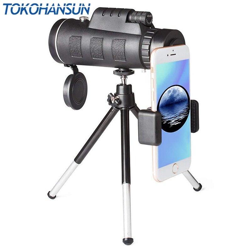 TOKOHANSUN 40X60 HD Zoom Telescópio Monocular Lens + Tripé + Clip para Samsung para O Iphone Xiaomi Huawei Camping lente Do Telefone de viagem