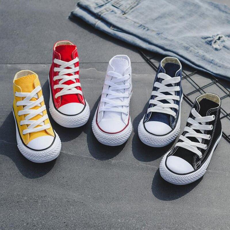 子供高トップキャンバス女の子品質ファブリック学校靴男の子のファッションキャンディーカラースニーカー春秋の外側旅行キャンバス