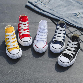 Children High-top Canvas Girls Quality Fabric School Shoes Boys Fashion Candy Color Sneakers Spring Autumn Outside Travel Canvas