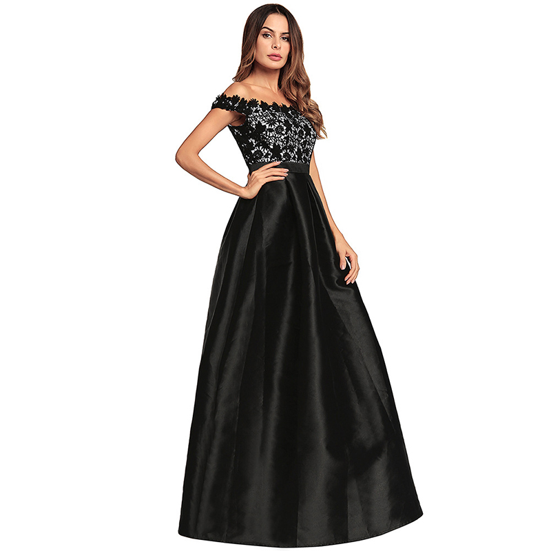 Romantichut 2018 Elegant Flared Maxi Dress Female Lace Satin Patchwork Long  Gown Night Club Party Dress Sexy Slash Neck Vestido-in Dresses from Women s  ... c04cbb33575b