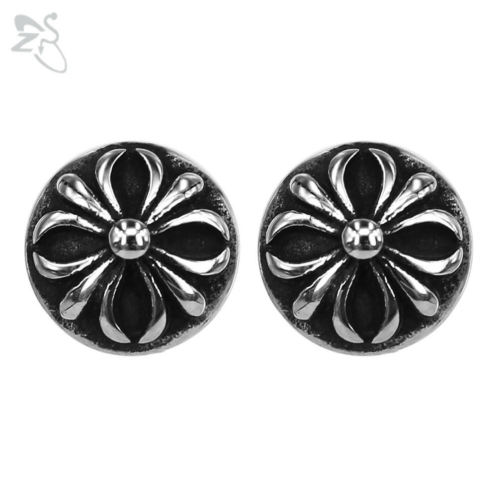 Fashion Style Earrings Dark Flower Brincos Surgical Steel Pierced Ears Helix Rock Designer Men Ear Stud For Women Female Jewelry