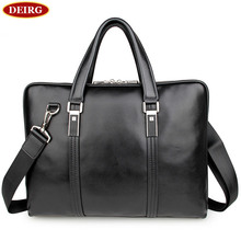 High Quality Genuine Cow Leather Classic Black Men Briefcase Business Handbag For Male 15 Inch Laptop PR087326