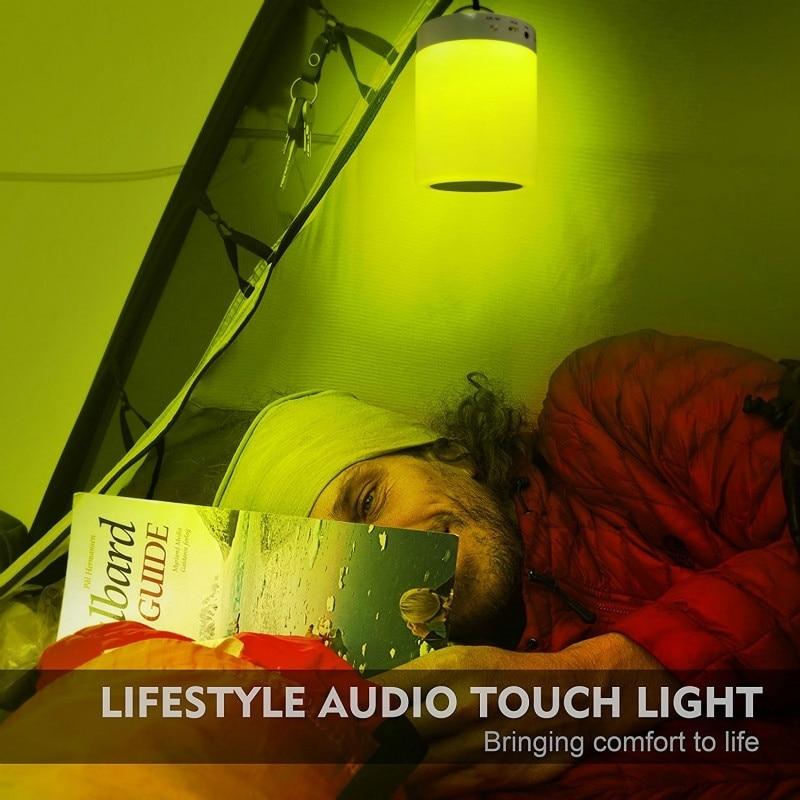 Nachtlampje met Bluetooth Speaker, Draagbare Draadloze Bluetooth Speaker Touch Control Kleur LED Nachtkastje Lamp USB Sensor