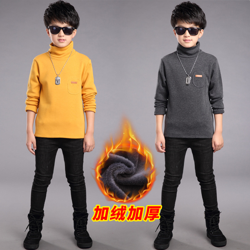 цена Kids Boys Winter Sweatshirts for 4 6 8 10 12 to 14 Years Long Sleeve Turtleneck Dark Grey Bottoming Shirt Children Tops 5M26A онлайн в 2017 году
