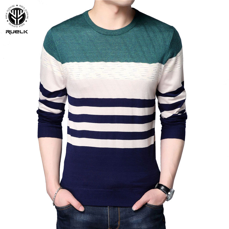Autumn Fashion Brand Casual Sweater O-Neck Striped Slim Fit Mens Sweaters Pullovers Men Pull Homme Contrast Color Knitwear 2019