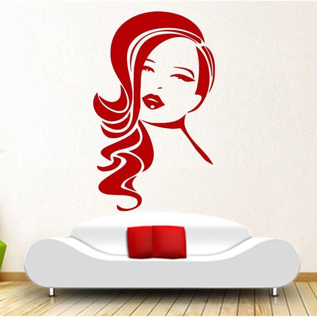 Hair salon sticker beauty scissors decal haircut name - Stickers deco salon ...