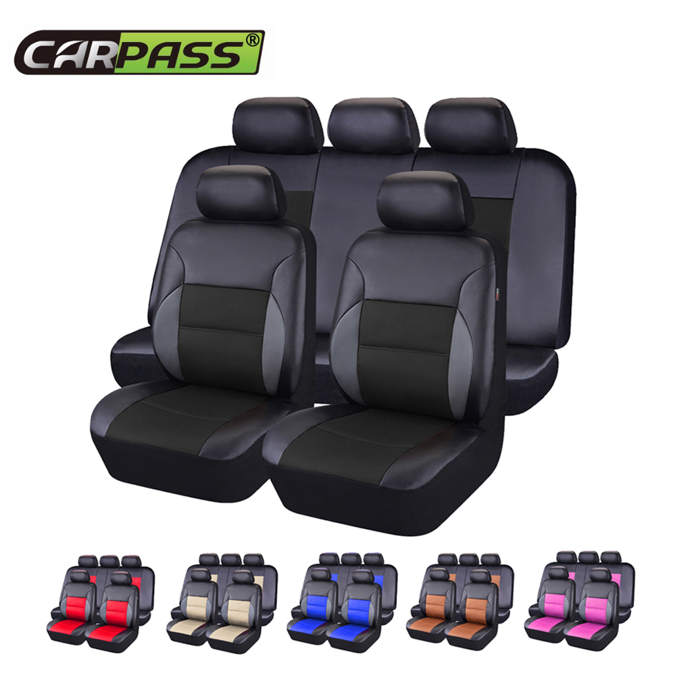 Car pass Pvc Leather Car Seat Covers Universal 6 Color Seat Covers Cushion font b Interior