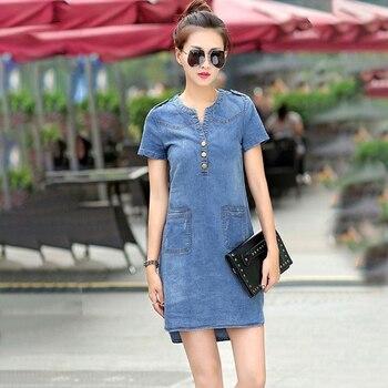 Plus Size 5XL Summer Style Denim Dresses Women V-Neck Short Sleeve Slim Jeans Dress With Pockets Vestidos Women Clothing 1