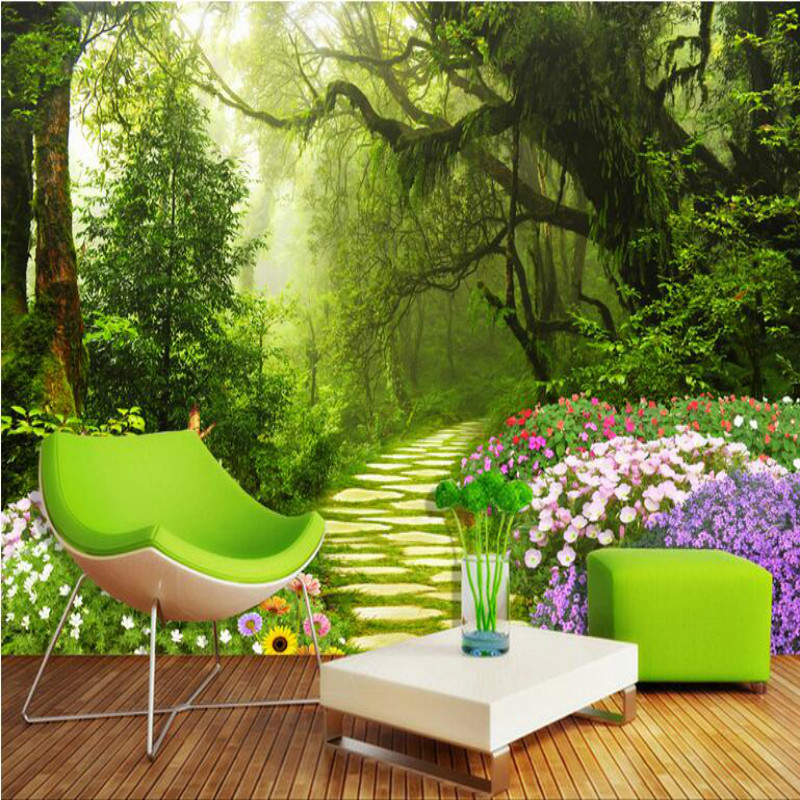 Custom 3D Photo Wall Mural Wallpaper for Living Room Bedroom Non Woven Silk Wallpapers Roll Natural forest path background wall non woven bubble butterfly wallpaper design modern pastoral flock 3d circle wall paper for living room background walls 10m roll