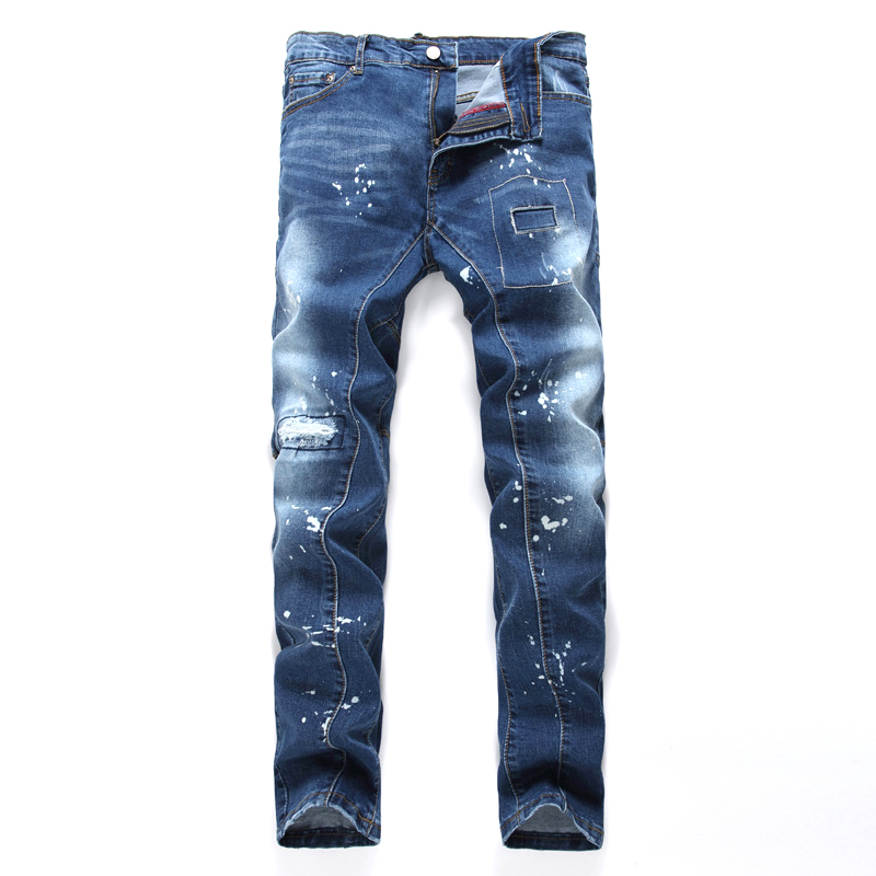 Blue Denim Jeans Famous Brand Empire Jeans Color Print Long Trousers High Quality Slim fit Straight Denim Men's Fashion Jeans men s cowboy jeans fashion blue jeans pant men plus sizes regular slim fit denim jean pants male high quality brand jeans