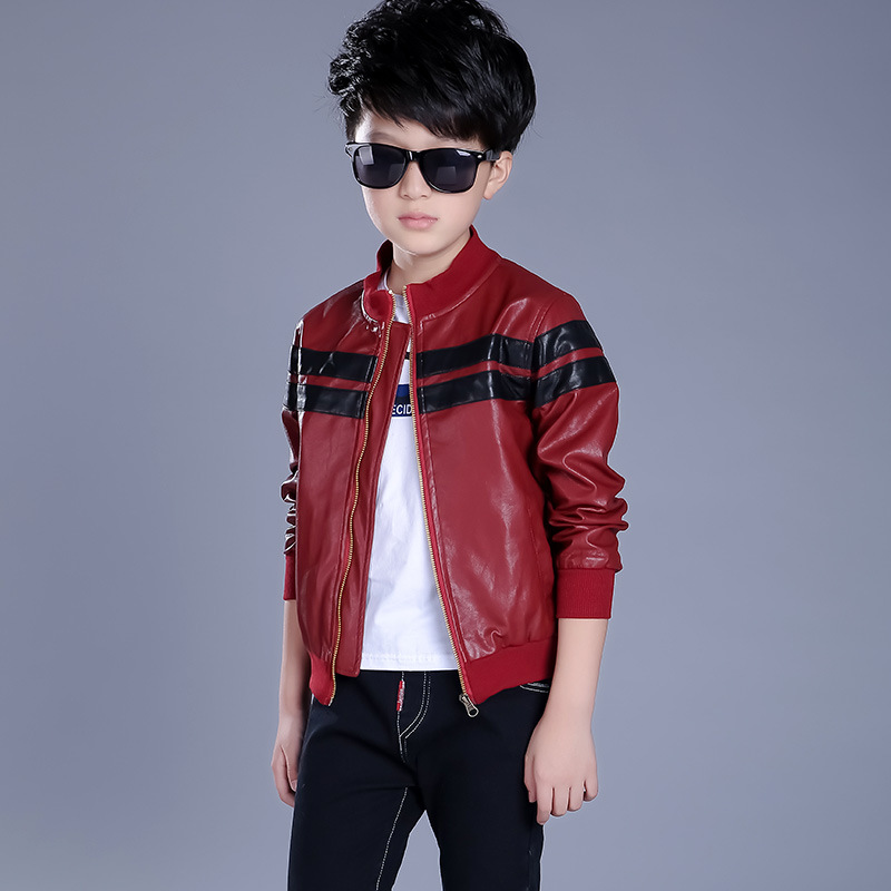 2016 autumn spring cool children's PU leather motorcycle ...