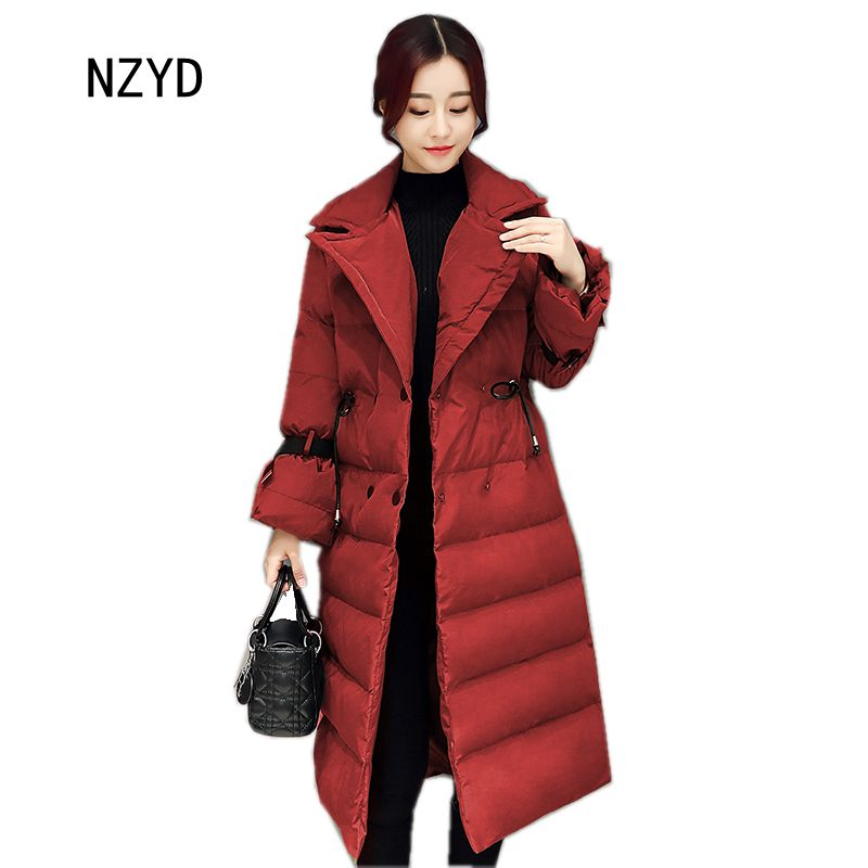 Winter Women Down Cotton Coat 2017 New Lapel collar medium long Female Jacket Long sleeve Loose Big yards Parkas LADIES279 2017 new winter fashion women down jacket hooded thick super warm medium long female coat long sleeve slim big yards parkas nz18