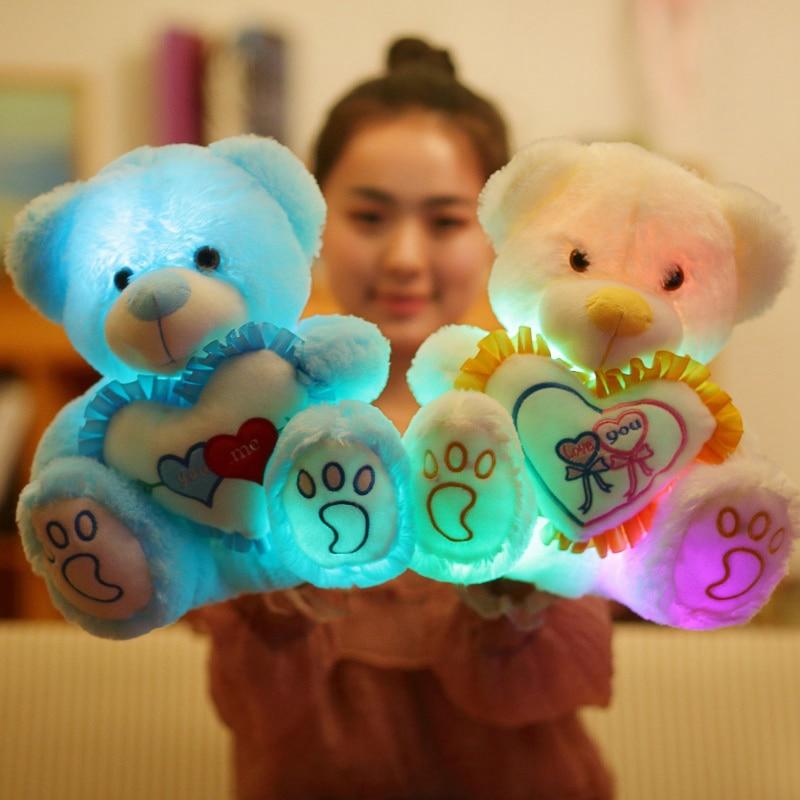 1 шт., 25/30 см, светодиодный плюшевый мишка, плюшевая игрушка, цветные мягкие игрушки, светящиеся мишки, кукла, подушка, подарки для детей, девоч...