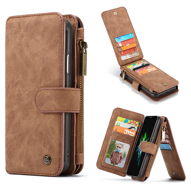 half off dc2c8 e0fc2 US $13.79 31% OFF|14 Card Holder Leather Case For iPhone X Xr Xs Max Zipper  Magnetic Wallet Cover For iPhone 8 7 6 6S Plus 5 5S SE Flip Phone Case-in  ...