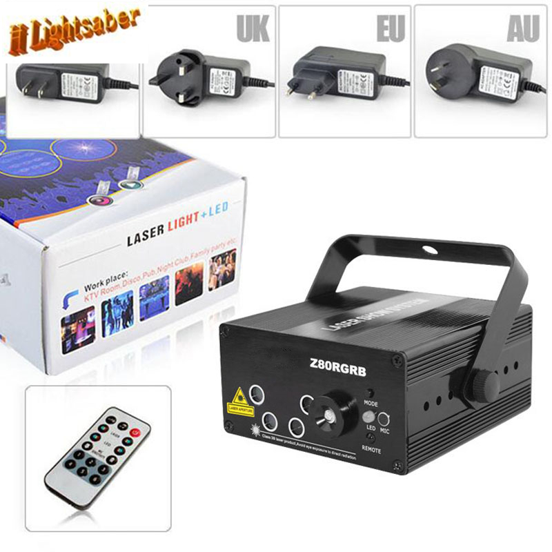 Lightsaber 5 Lens 80 Patterns Projector Light And Music For Disco Party RGB Disco Laser Show Stage Machine Floodlight