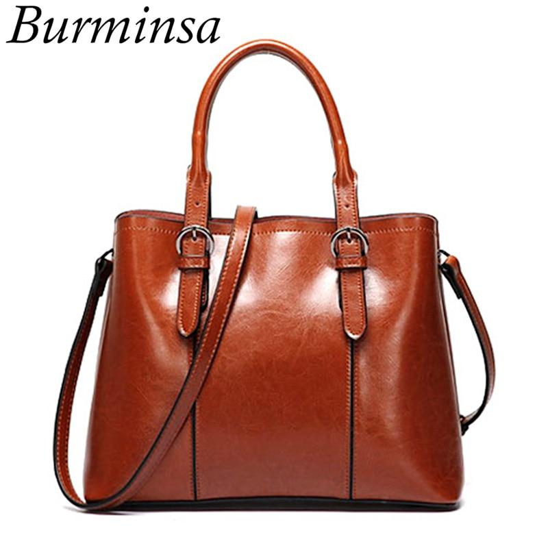 Burminsa Vintage Cow Genuine Leather Handbags For Women Large Capacity Ladies Shoulder Messenger Bags Female Tote
