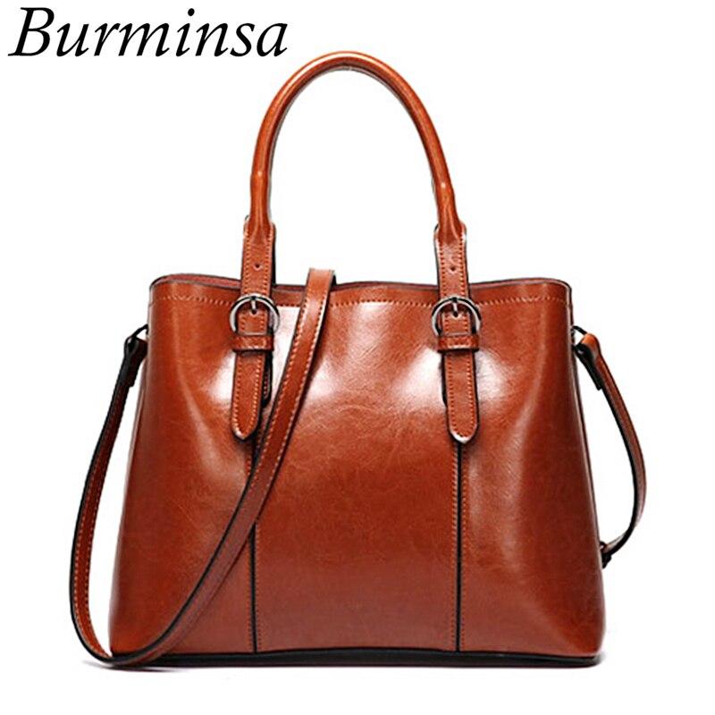 Burminsa Vintage Cow Genuine Leather Handbags For Women Large Capacity Las Shoulder Messenger Bags Female Tote New 2019