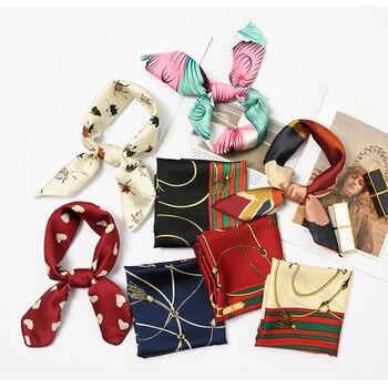 50*50cm Fashion Women Elegant Floral Silk Square Scarf Small Plain Neckerchief Handle Bag Ribbons Ladies Headband Hair Tie Band