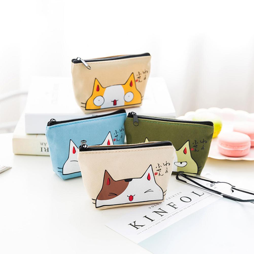PinShang Women Cute Cartoon Cat Coin Purse Animal Card Holder Key Bag Wallet