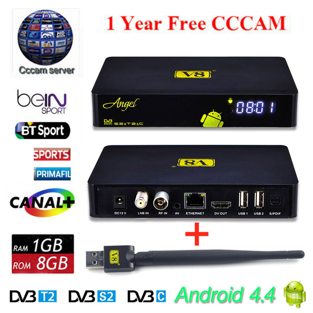 Freesat V8 Angel Receptor Satellite Receiver Android 4.4 smart TV Box + 1 year Cccam free cline server Support IPTV DVB-S2 T2/C wholesale freesat v7 hd dvb s2 receptor satellite decoder v8 usb wifi hd 1080p support biss key powervu satellite receiver