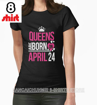 2018 Hot Sale New Fashion Camisetas Tumblr Hipster T Shirts O-Neck For Queens Are Born On April 24 Short-Sleeve Shirt