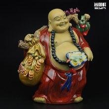 Shiwan bebek butik ana Tam Cai Maitreya buda 3 küçük seramik el sanatları oturma odası feng shui şanslı süsler