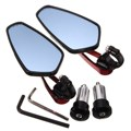 1 Pair 7/8inch 22mm Universal Motorcycle Aluminum Rearview Mirrors with Handle Bar End Red Billet Aluminum